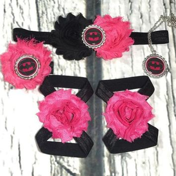 Batman Baby Girl Headband, Bracelet, and Barefoot