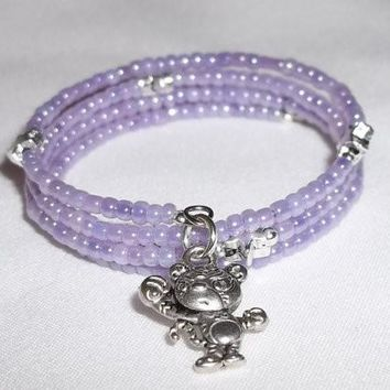 Childrens' Lavender Glass Beaded Hand Crafted Wrap Bracelet w/ Cartoon Tiger Charm