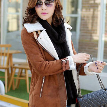 Brown Notched Collar Belted Sleeve Woolen Coat