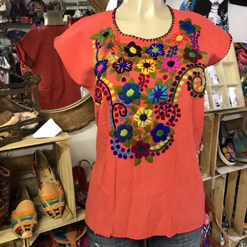 Mexican Embroidered Bouquet Blouse Deep Coral