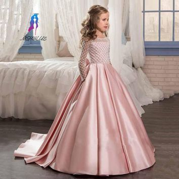 2017 Princess Long Sleeves Flower Girl Dresses With Bow Knot Sequins Court Train Satin Girls Pageant Gowns
