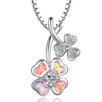 Sterling Silver Heart Leaf Clover W. Pink Fire Opal Pendant Necklace