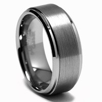 CleverEve Tungsten Nation 8mm Tungsten Ring Brushed Center Polished Stepped Edge Tungsten Wedding Band (Sz 8 to 13)