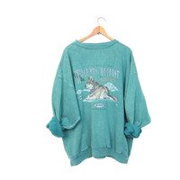 Vintage WILDLIFE Sweatshirt Green WOLF Pullover Grunge 80s Sweater Hipster Preppy Boyfriend Sweatshirt 1980s Tomboy Coed Sweatshirt Men's XL