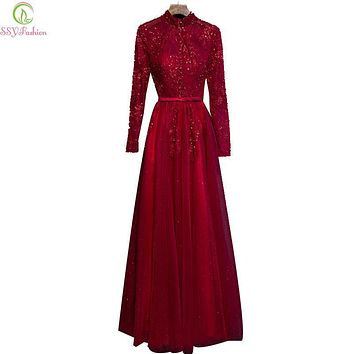 Evening Dress Winter SSYFashion Bride High Collar Transparent Long Sleeves Wine Red Lace Party Gown Banquet Elegant Prom Dress