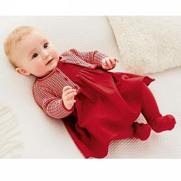 New Baby Girl Dress Red Knitted Sweater Cardigan Cotton Dress High Quality Infant Cute Sweatshirt Princess Baby Clothing Hsp123