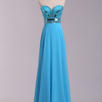 Strapless Long Beaded Open Back Chiffon Modest Prom Dresses OK36