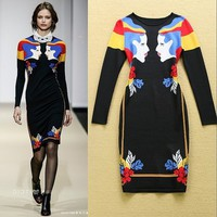 High Quality Runway Dress 2015 Autumn Winter Women Dress Fashion Long Sleeve Desigual Novelty Print Slim Knitted Sweater Dresses-in Dresses from Women's Clothing & Accessories on Aliexpress.com | Alibaba Group