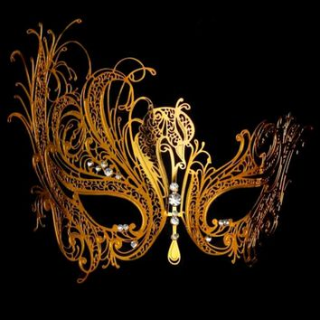 Phantom of the Opera GOLD Metal Masquerade Mask GOLD Metal with Rhinestones Venetian Masquerade Mardi Gras Party Ball MASK A23
