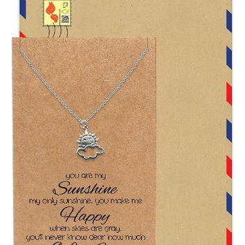 Ellen Sun and Cloud Charms Necklace, You are my Sunshine, Inspirational Quotes with Greeting Card