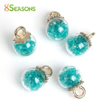 "8SEASONS Clear Glass Globe Bottle Charms Green Rhinestone Flower Pattern 23mm( 7/8"") x 16mm( 5/8""), 10 PCs"