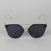 Double Bridge Rimless Horn Rimmed Sunglasses