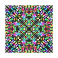 Green and Rainbow Mandala Pattern Canvas Print