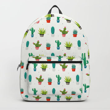 Colorful cactus succulent plant flower nature pattern Backpacks by Gal Ashkenazi