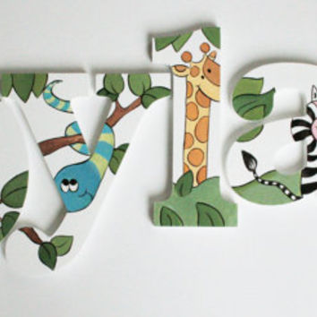 Jungle Animal Wooden Wall Name Letters / Hangings, Hand Painted for Boys Rooms, Play Rooms and Nursery Rooms