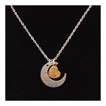X329 love Valentine's Day love couple of European and American moon necklace ebay jewelry supply   SON SILVER