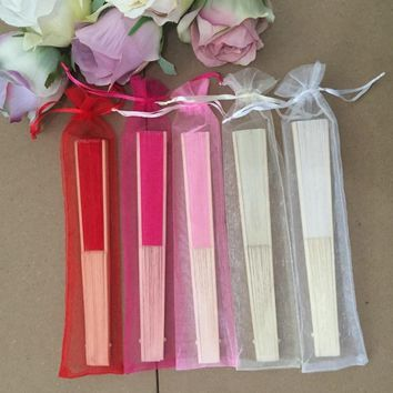 Free shipping 30pcs/lot Silk Wedding Hand Fan with organza gift bag in 5 colors available