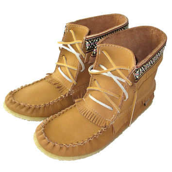 Men's Moosehide Leather Moccasin Boots - 137597M-C
