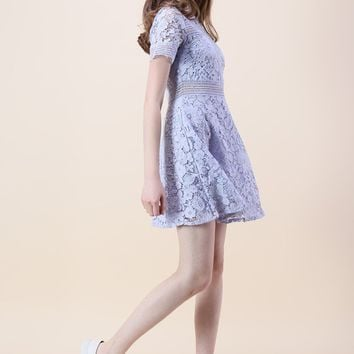 Floral Land Crochet Dress in Lavender