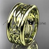 14kt yellow gold celtic trinity knot wedding band, engagement ring CT7293GA