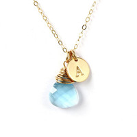 Blue necklace, Swarovski teardrop Aquamarine crystal wire wrapped in 14K Gold filled, gold necklace, March Birthday gift for Maid of honor