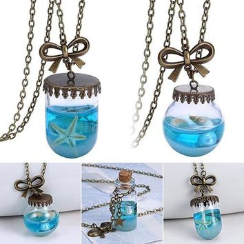 Mermaid Tears Bottle Pendant Necklace