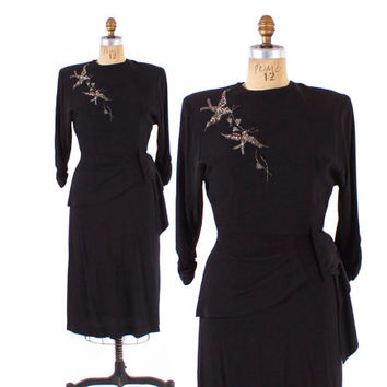Vintage 40s DRESS / 1940s Black Rayon BEADED Sequin BIRDS Hip Swag Cocktail Dress S