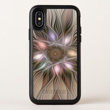 Joyful Flower Abstract Beige Brown Floral Fractal OtterBox Symmetry iPhone X Case