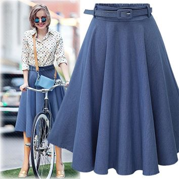 NORMOV Women Denim Jeans Skirts 2019 Summer Autumn Casual High Elastic Waist A line Skirt Streetwear Midi Pleated Skirt Female