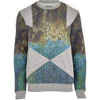River Island MensGrey Holloway Road scenic panel sweatshirt