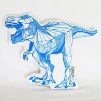 Florescent Blue Geometric T-Rex Linen Pillow