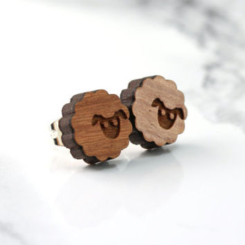 sheep stud earrings, cherry wood, sterling silver, black sheep, tiny, dainty, delicate