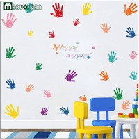 Maruoxuan Cute Colorful Fingerprint Kindergarten Children 's Room Primary School Classroom Decorative Art Wall Stickers