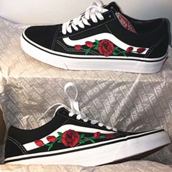 a988eb0dfefac6 Buy black vans with roses on them   56% OFF!