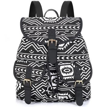Sansarya Tribal Style Print Canvas Teen Backpack Boho Shcool Bags Bagpack Women Rucksack For Girls Female Drawstring Bag Rugzak