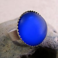 Cobalt Blue Ring  Frosted Dome Ring  Antiqued by AshleySpatula