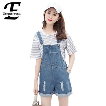 Elegdream Womens Jumpsuit Denim Overall 2017 Summer Jumpsuits and Rompers Casual Strap Hole Ripped Pockets Shorts Jeans Coverall