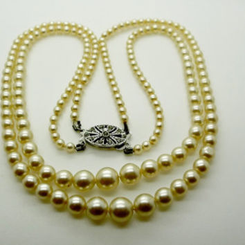 Vintage Simulated Two Strand Pearl Choker