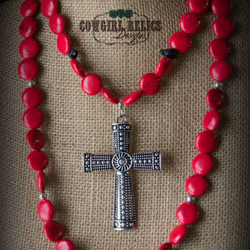 Elegant, Chunky Western Necklace, Red, Silver Cross, Black, Cowgirl Style