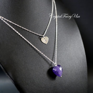 Sterling Silver Layered Necklace Set -  Amethyst Stone Heart Necklace - Stamped Name Necklace - February Birthstone -Amethsyt Necklace