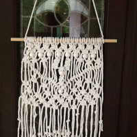 Macrame Wall Hanging, white cotton cord with white wooden beads on wooden dowel, boho decor