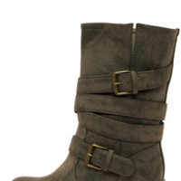 Dirty Laundry Check It Out Olive Distressed Mid-Calf Boots