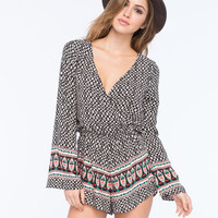 Mimi Chica Bell Sleeve Womens Surplice Romper Black/Multi  In Sizes