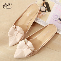 New fashion bow point toe slippers womens sandals summer 2015 women shoes 34-43