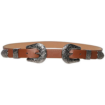 Brown Faux Leather Double Buckle Belt