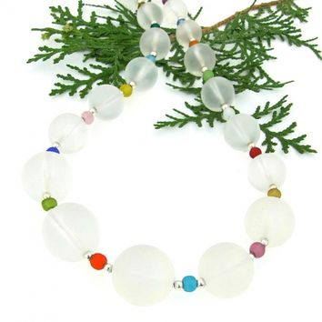 Frosted White Quartz Necklace, Multi Colored Jewelry Gift Handmade