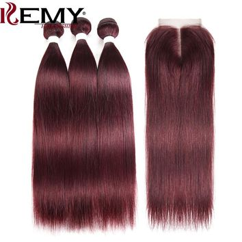 99J/Burgundy Red Color Brazilian Straight Human Hair Bundles With Closure 4*4 Non-Remy Hair 3 PCS Human Hair Weaves KEMY HAIR