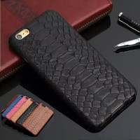 Natural Real Genuine Cow Leather Cover Case For iPhone 7 6 6S Plus 5 5S SE Case 3D Python Snake Skin Design Mobile Phone Cases