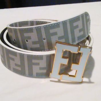 FENDI White College Leather Belt