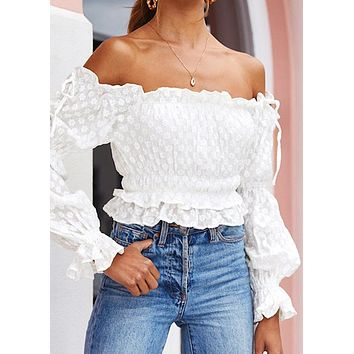 Off-The-Shoulder Lace Up Ruffle Edge Solid Crop Top